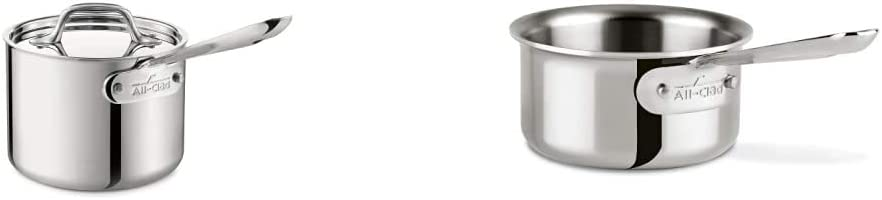 All-Clad 4201.5 Stainless Steel Tri-Ply Bonded Dishwasher Safe Sauce Pan with Lid Cookware, 1.5-Quart, Silver & 42006 D3 Stainless 0.5 Qt. Butter Warmer w/ Pour Lip, Silver