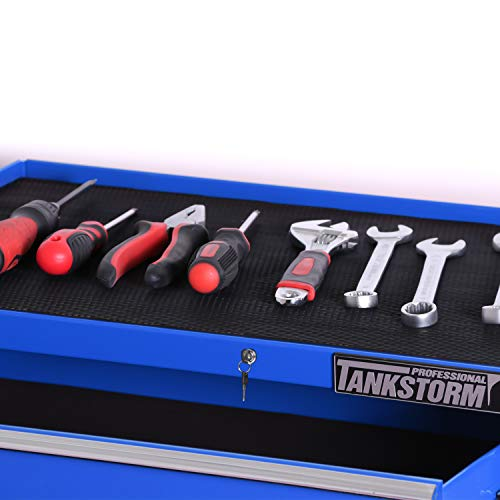 TANKSTORM Tool Chest Heavy Duty Cart Steel Rolling Tool Box with Lockable Drawers and Doors (TZ12A Blue) by TANKSTORM (Image #4)