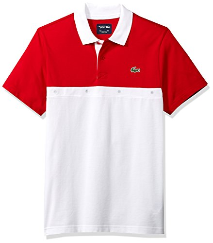 Lacoste Mens Short Sleeve Super Light with Colorblock Eyelets Polo, Yh3130