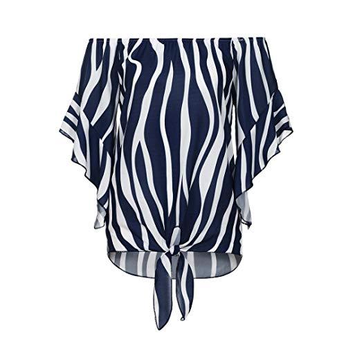 Cravate Mode DContractEs Manche blouse Lenfesh Fonc Chemises Avant Courte Bleu Imprim FMinine Ray n0gSgv5q6