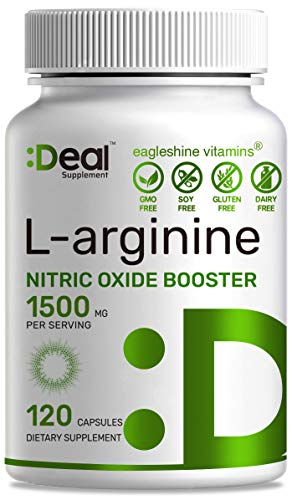 Extra Strength L Arginine, 1500mg Nitric Oxide Booster Supplement for Muscle Growth, Libido, Vascularity & Energy with L-Citrulline and AAKG, Non-GMO, Made in USA (120 Caps)