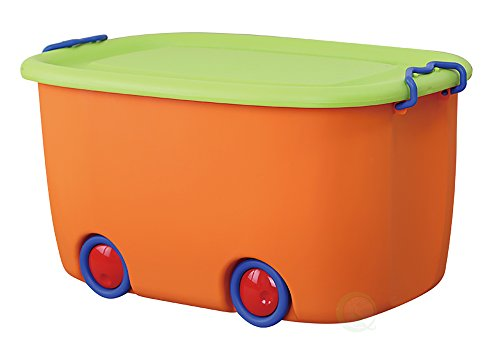 Basicwise QI003221 Stackable Toy Storage Box with Wheels, (Plastic Box Toy)