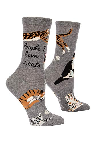 Blue Q Women's Crew Sock People I Love Cats, Gray, Small
