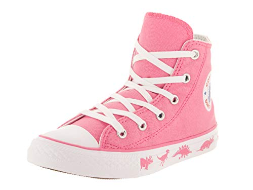(Converse Girls Kids' Chuck Taylor All Star Dinoverse High Top Sneaker, Pink White, 1.5 M US)