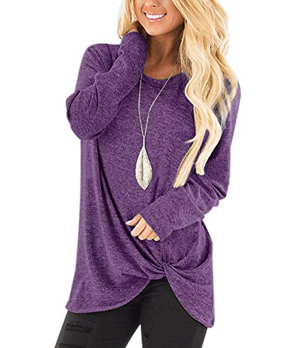- Casual Blouse Loose Knit Tunics Sweatershirts for Women Fashion Pullover Henley Tops Plain Shirts Size S