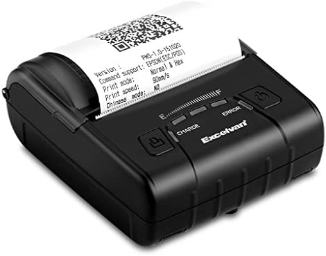 Excelvan E300 - Impresora Térmica de Recibos y Billetes (Bluetooth Inalámbrica, Portátil, Usb, 90Mm/seg, 80mm, ESC/POS, para Pos Terminal Punto de ...