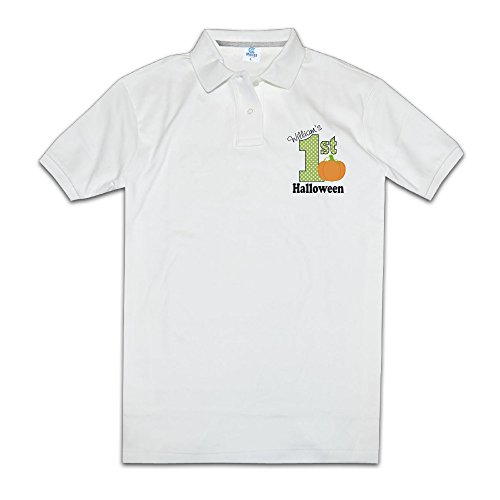First Halloween With Pumpkin Mens Polo Style XXL White ()