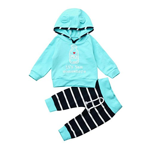 Milk Bottle Halloween Costume (Newborn Infant Baby Boy Girl Clothes Set Stripe Hoodie Milk Bottle Letter Pattern Tops+Pants Outfits 2 Pcs by CSSD (6M, Blue))