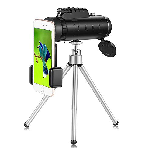 Monocular Telescope for Smartphone, 40×60 Monocular Telescope High Powered BAK4 Prism Phone Scope with Smartphone Clip and Tripod, Low Night Vision for Outdoors, Birdwatching, Hiking, Wildlife, Conce