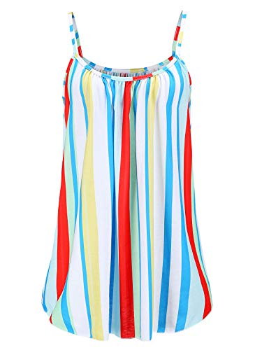 Womens Plus Size Cami Basic Camisole Tank Top (Colorful Striped,2X) ()