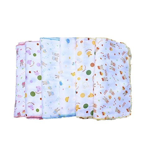 FTSUCQ Baby Cotton Gauze Cartoon Print Bibs Handkerchief Hankies Set,30pcs