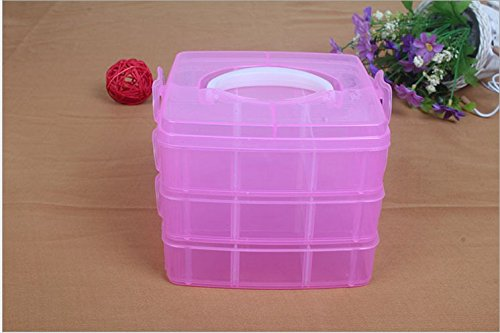 P2P@zita Removable Divider Box - Stackable Storage Container Perfect for and Arts Crafts Accessories - with 18 Adjustable Compartments (Hot Pink)