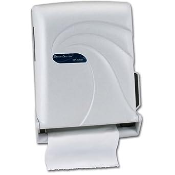 "San Jamar T1490 Oceans Smart System with IQ Sensor Roll Towel Dispenser, Fits 8"" Wide and 4"" Diameter Stub Roll, 11-3/4"" Width x 16-1/2"" Height x 9-1/4"" Depth, White Sand"