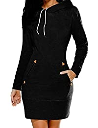 Suvotimo Women Plus Size Casual Pullover Drawstring Hooded Sweatshirts Mini Dress