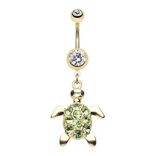 Golden Turtle Sparkle 316L Surgical Steel Belly Button Ring NE-768-CLLG