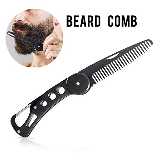RTYou Stainless Steel Beard Comb Men's Hair Beard and Mustache Styling Comb Folding Pocket Comb Antistatic Foldable Portable Moustache Comb Hair ()