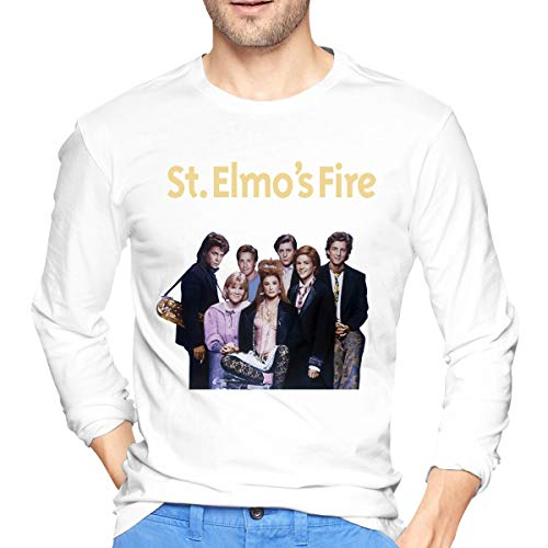 St Elmo's Fire Men's Long Sleeves Fashionable T-Shirt Printed Casual Tee M White