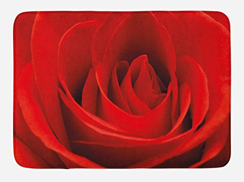 Ambesonne Rose Bath Mat, Close Up of a Red Rose Bloom Fresh Natural Beauty Love Valentine's Day Couples Theme, Plush Bathroom Decor Mat with Non Slip Backing, 29.5 W X 17.5 L Inches, Vermilion