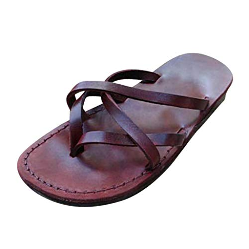 Women's Flip Flops Arch Support Yago Mat Insole Sandal Casual Slipper Outdoor and Indoor Beach Rome Shoes by FAPIZI Brown]()