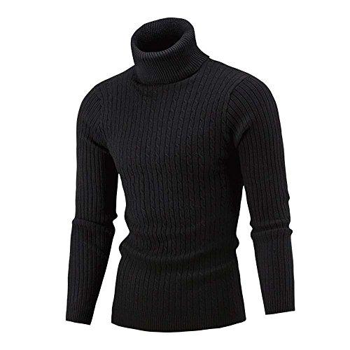 Winter Men Slim Warm Knit High Neck Pullover Jumper Sweater Turtleneck Top BK/XL by KpopBaby