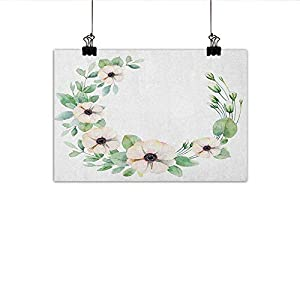 """Littletonhome Anemone Flower Wall Art Decor Poster Painting Roses Ranunculus and Hydrangea Flowers and Green Leaves Frame Decorations Home Decor 20""""x16"""" Pale Pink Yellow Green 36"""