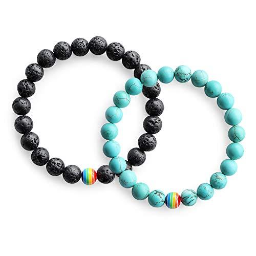 Me&Hz LGBT Pride Bracelet/Long Distance Promise Bracelets for Lesbian Couples/Black Lava Stone &Turquoise Beaded Rainbow Bracelets Jewelry by Me&Hz