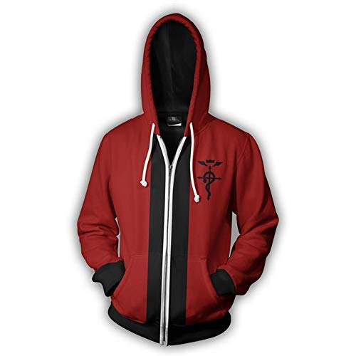 VOSTE Edward Elric Costume Anime Cosplay Hoodie 3D Printed Zipper Jacket (XX-Large, Color 1)