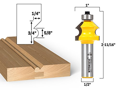 - Yonico 13111 Bevel & Bead Wainscoting Router Bit 1/2-Inch Shank