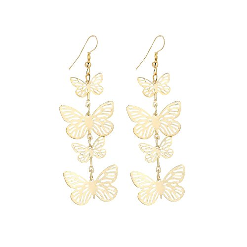 Delicate Filigree Dangle Flying Butterfly Hook Earrings - available in silver and gold tones (Gold tone) ()