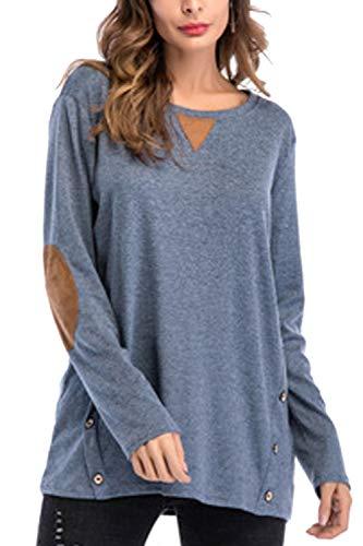Manches Shirt Bleu T Occasionnel Base Tunique Femmes Chemisier De Tops Longues gqFR5