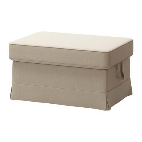 IKEA Cover for Ektorp Ottoman (footstool) Nordvalla Dark Beige (Slipcover Only) (Covers Ikea Ottoman)
