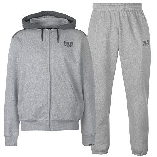 (Everlast Mens Jog Suit Fleece Tracksuit Hooded Zip Grey Marl/Charcoal XL)
