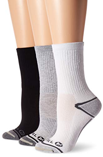 Merrell Women's 3 Pack Performance Hiker Socks , Grey Assorted (Crew), Shoe Size: 4-9.5