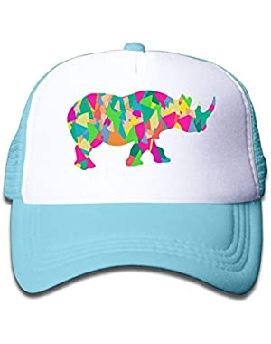 Abstract Rhino On Kids Trucker Hat, Youth Toddler Mesh Hats Baseball Cap
