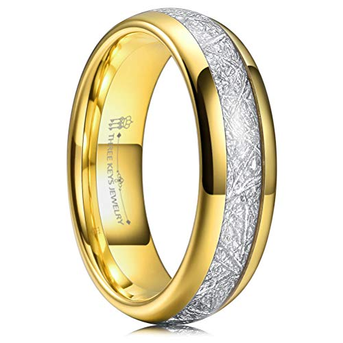 Three Keys 6mm Tungsten Wedding Ring for Men Domed Imitated Meteorite Inlay Polished Gold Mens Meteorite Wedding Band Engagement Ring Promise Ring Size 11 ()