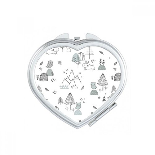 Cartoon Bird Puppy Mountain Star Grass Tree Line Stroke Lovely Nordic Illustration Pattern Heart Compact Makeup Pocket Mirror Portable Cute Small Hand Mirrors (Treeline Mirror)