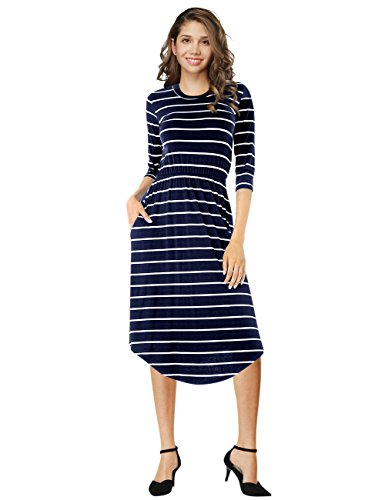 navy and blue striped dress - 4