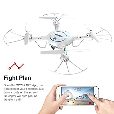 Syma X5UW Wifi FPV Drone with 720P HD Camera Live Video 2.4Ghz RC Quadcopter with Flight Route Setting and Altitude Hold Function Bonus Battery Included White by Syma