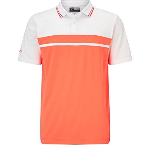 Callaway Golf 2018 Mens Opti-Dri Essential Colour Blocked Pique Golf Polo Shirt Fresh Salmon Medium