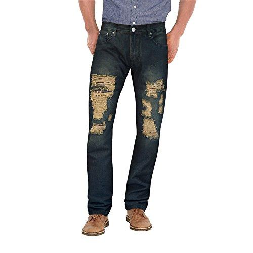 Agile Mens Fashion Moto Destructed 5 Pocket Axton Jean