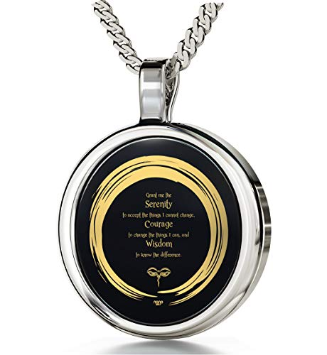 925 Sterling Silver Serenity Prayer Necklace Zen Circle Pendant Inscribed in 24k Gold on Round Onyx, 18