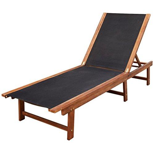- vidaXL Outdoor Sun Lounger Chaise Garden Chair Patio Recliner Pool Furniture Wood Bed