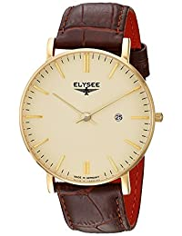ELYSEE Men's 'Classic-Edition' Quartz Stainless Steel and Leather Casual Watch, Color:Brown