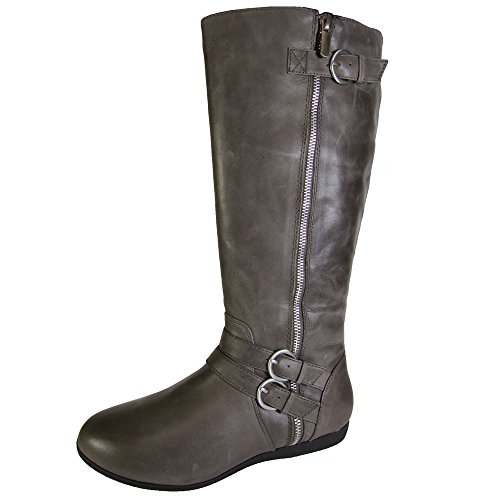 Me Too Womens Freja Tall Leather Riding Boot Shoe, Storm, US 8 (Leather Flat Boots)