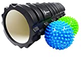 Foam Roller-2 x 9cm Spikey Massage Balls & FREE Carry Bag-Reduced Price - Premium Trigger Point Roller.- Great for Muscles & Physical Therapy - 1 Year Warranty.- Special Holiday Price