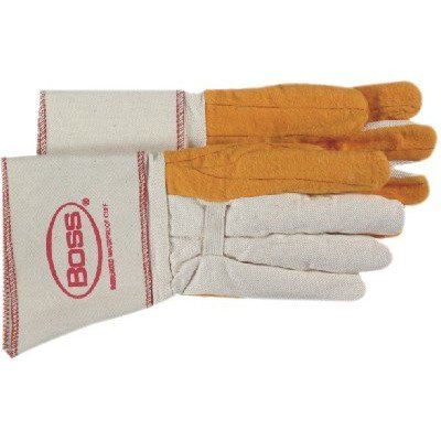 Glo Mittens - Gauntlet Cuff Chore Gloves - large 2-ply quilted fleece out palm welders glo [Set of 12]