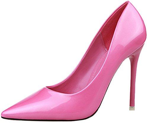 Rose Talons Verni Cuir Robe Escarpins Femmes Rouge Chaussures De Hauts BIGTREE Pointu Stiletto TRFPIqq