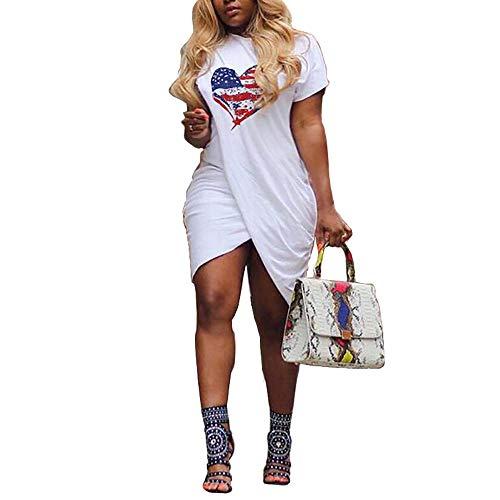 Pukemark Women's Plus Size Summer Casual Sundress, Lady Sexy Irregular Love Heart Dress Print Short Sleeve Split Mini Dress White