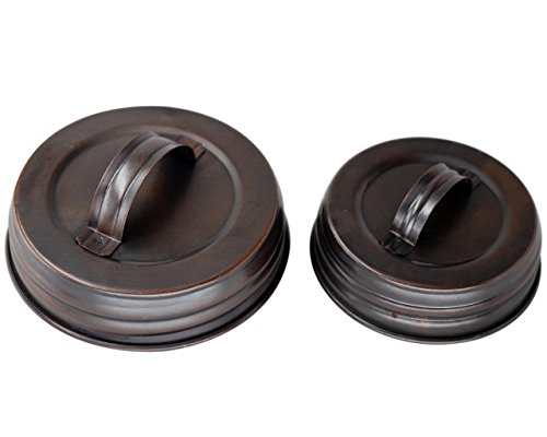 Oil Rubbed Bronze Canister Lid With Handle For Mason, Canning Jars (4 Pack, Regular Mouth)