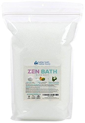 Zen Bath Salt 128oz (8-Lbs) Epsom Salt Bath Soak With Cedarwood, Rosemary, Eucalyptus Essential Oils Plus Vitamin C Crystals - A Japanese Style Aromatherapy Bath